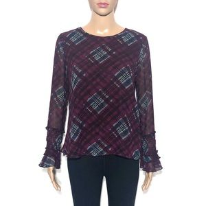 Nanette Lepore Abstract Plaid Flutter Blouse Top